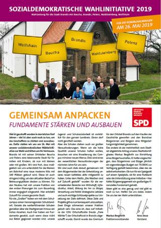 SPD Brandis Wahlzeitung zur Kommunalwahl 2019